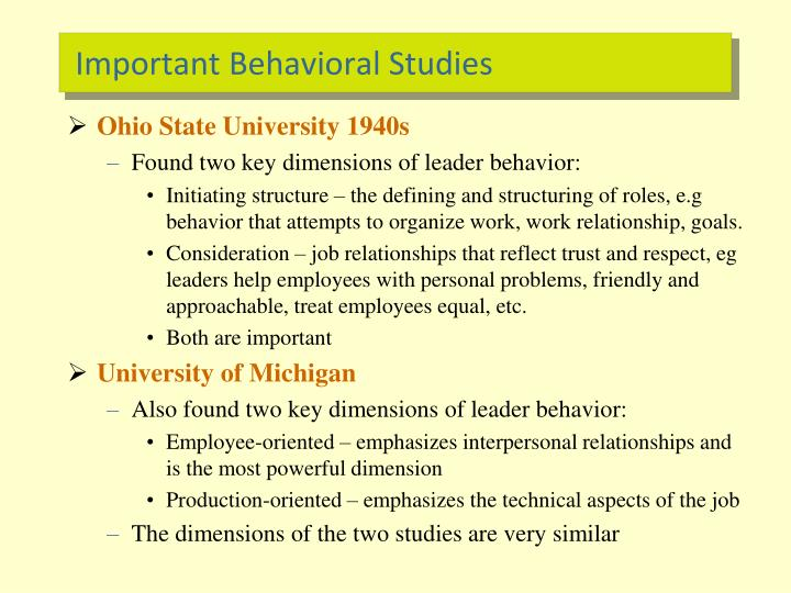 Important Behavioral Studies
