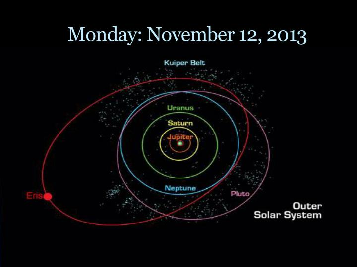 Monday: November 12, 2013