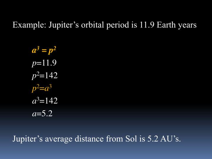Example: Jupiter's orbital period is 11.9 Earth years
