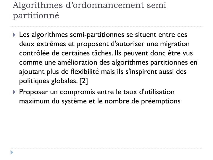 Algorithmes d'ordonnancement semi partitionné