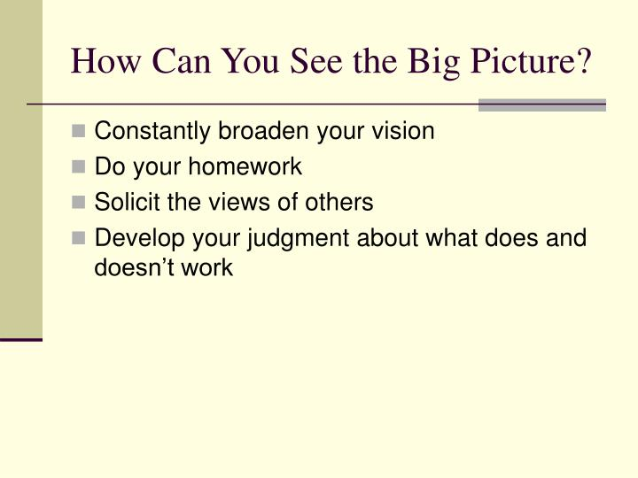 How Can You See the Big Picture?