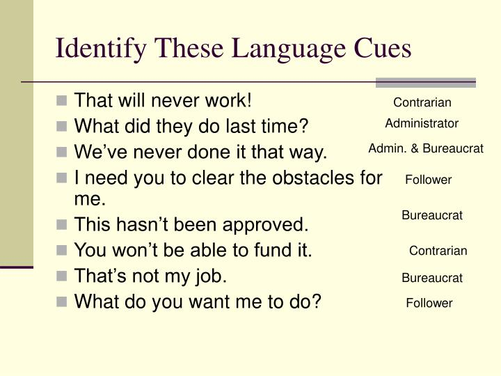 Identify These Language Cues