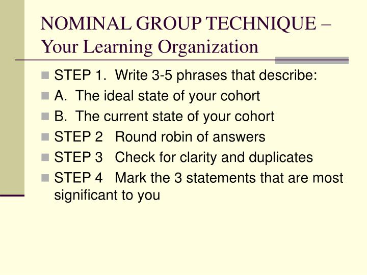 NOMINAL GROUP TECHNIQUE – Your Learning Organization