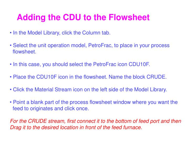 Adding the CDU to the Flowsheet