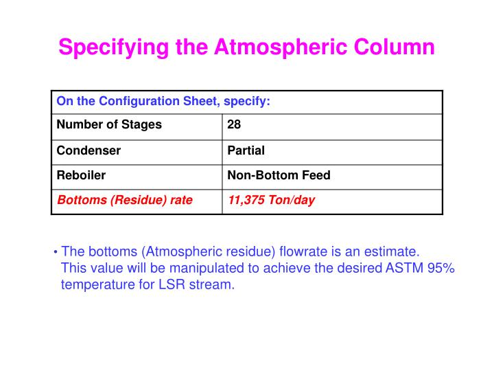 Specifying the Atmospheric Column