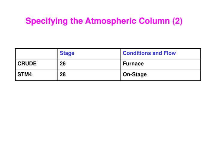 Specifying the Atmospheric Column (2)
