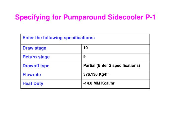 Specifying for Pumparound Sidecooler P-1