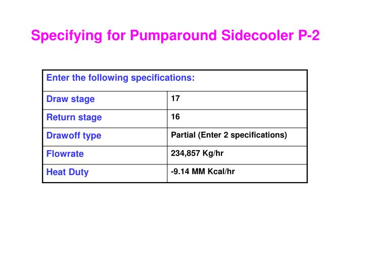 Specifying for Pumparound Sidecooler P-2