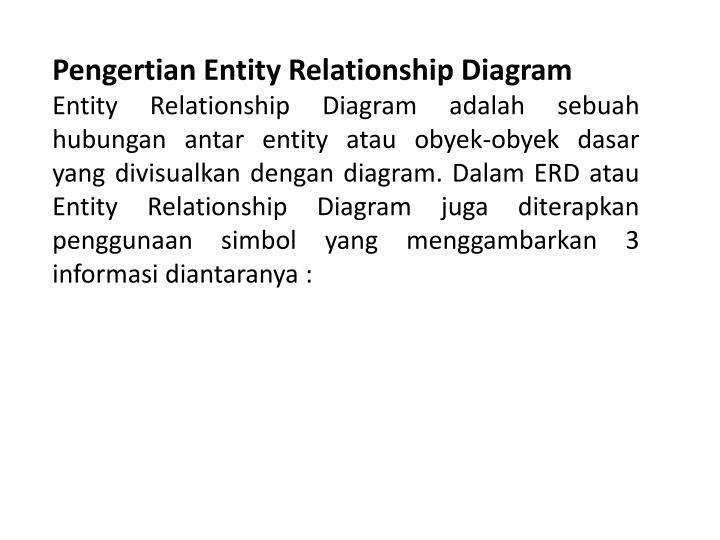 Pengertian Entity Relationship Diagram