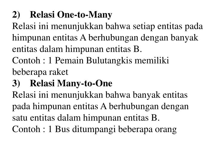 2) Relasi One-to-Many