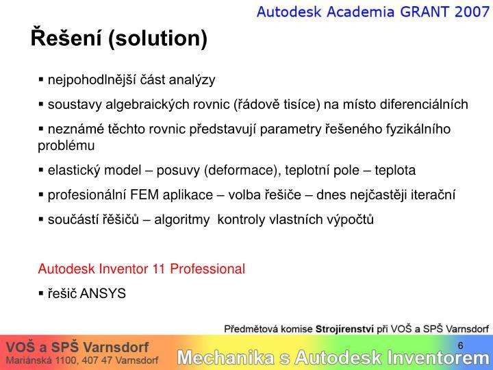 Řešení (solution)