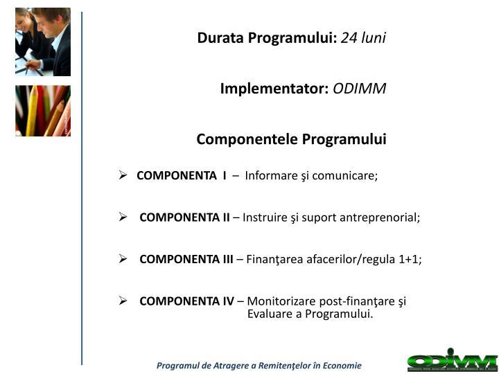Componentele Programului