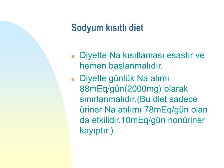 Sodyum kısıtlı diet