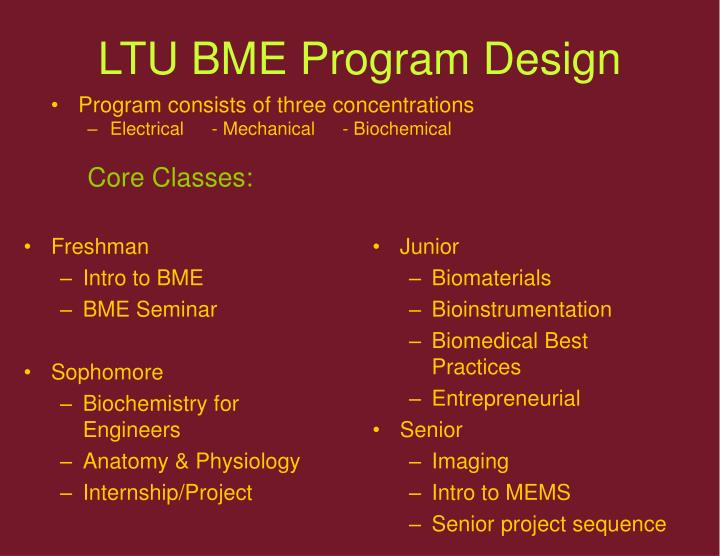 LTU BME Program Design