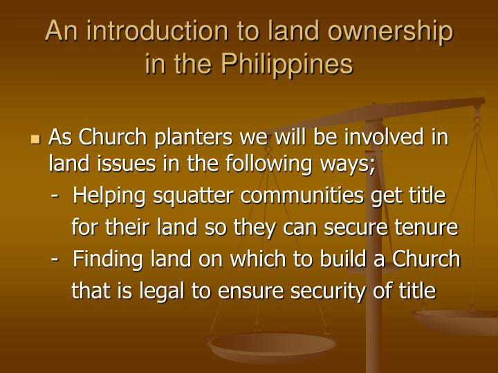 An introduction to land ownership in the Philippines
