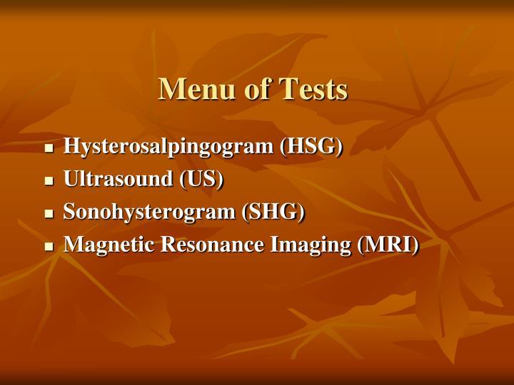 Menu of Tests