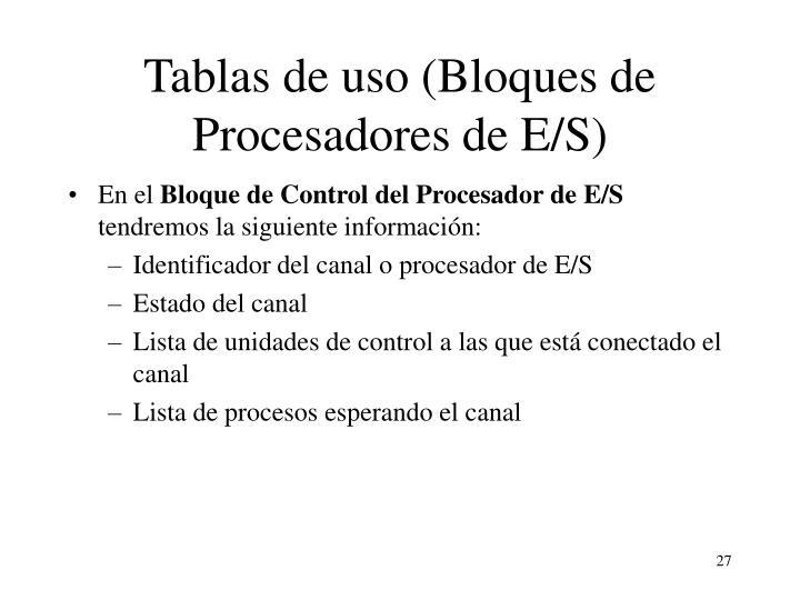 Tablas de uso (Bloques de Procesadores de E/S)