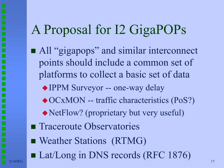 A Proposal for I2 GigaPOPs