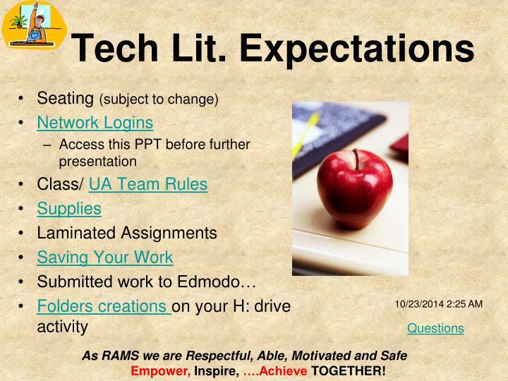 Tech Lit. Expectations