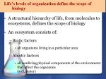 life s levels of organization define the scope of biology