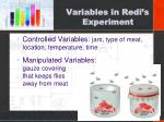 variables in redi s experiment