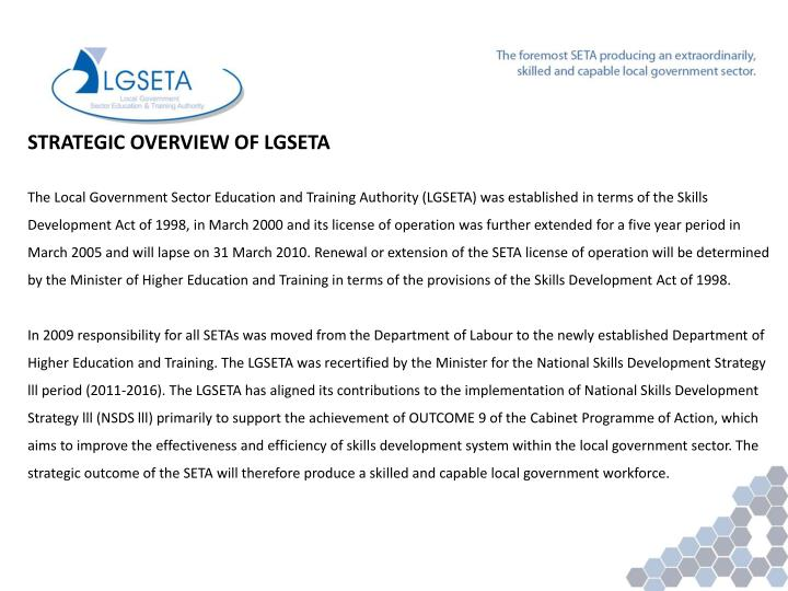 STRATEGIC OVERVIEW OF LGSETA