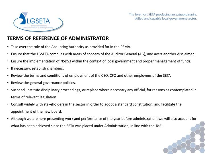 TERMS OF REFERENCE OF ADMINISTRATOR