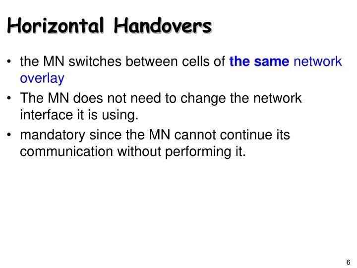 Horizontal Handovers
