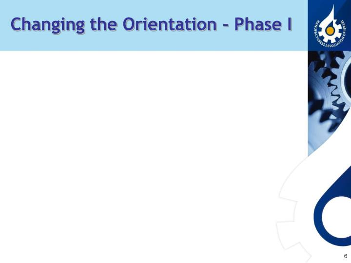 Changing the Orientation - Phase I