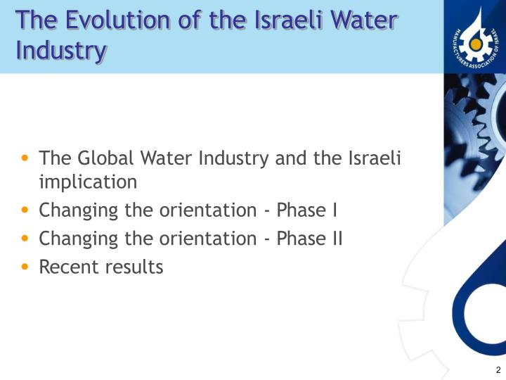 The Evolution of the Israeli Water Industry