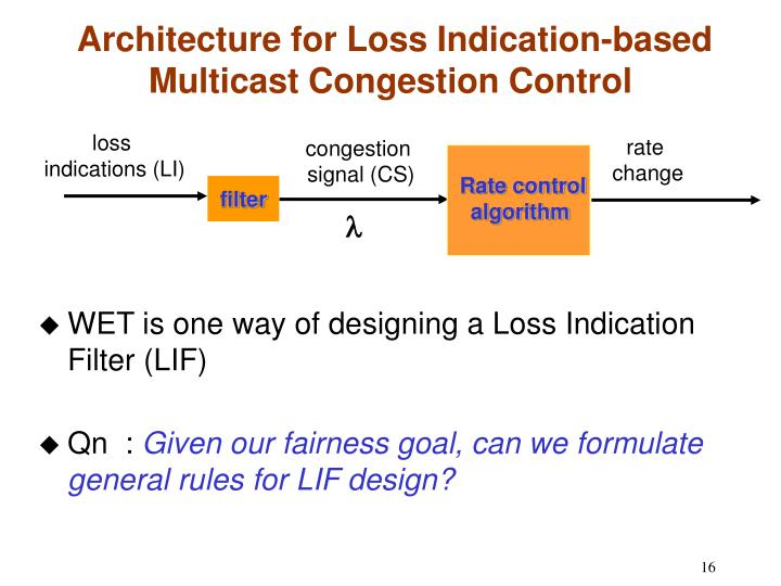 WET is one way of designing a Loss Indication Filter (LIF)