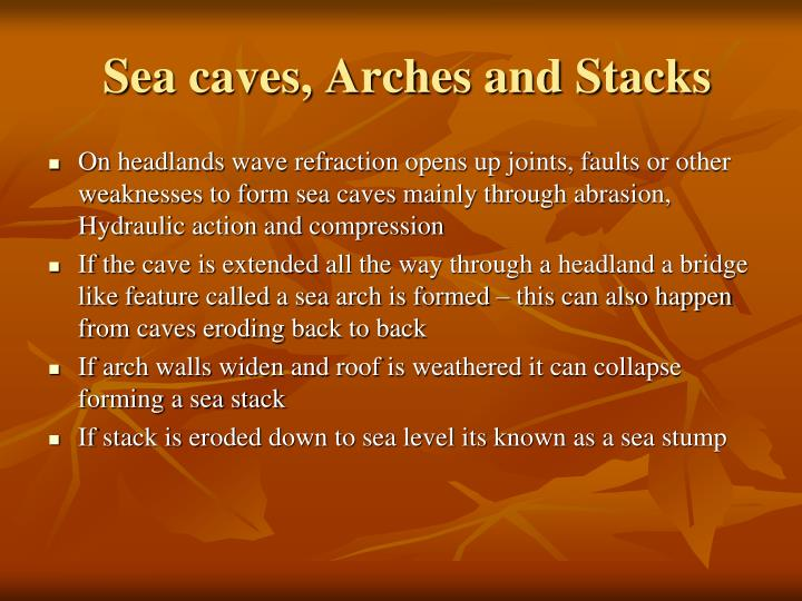 Sea caves, Arches and Stacks