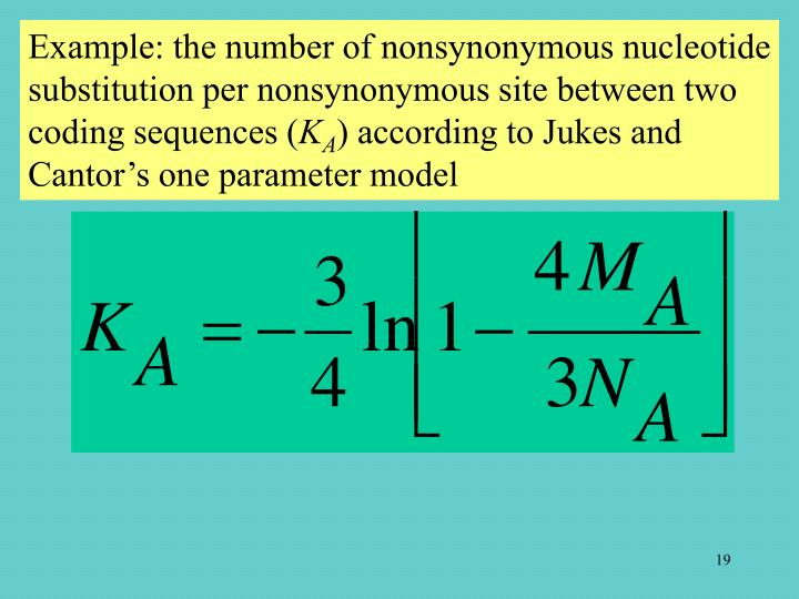 Example: the number of nonsynonymous nucleotide substitution per nonsynonymous site between two coding sequences (