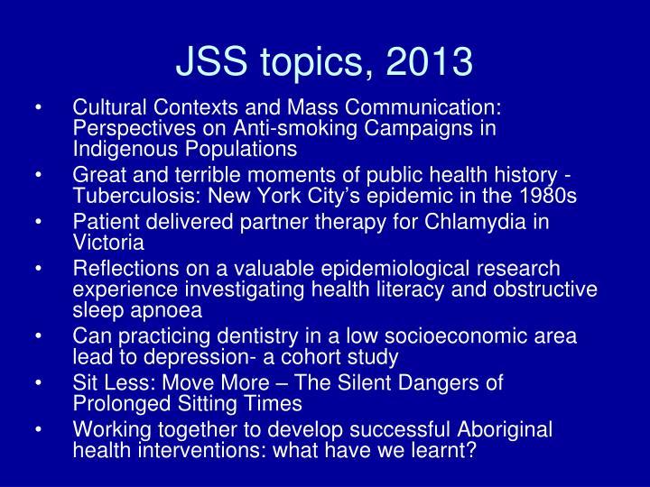 JSS topics, 2013