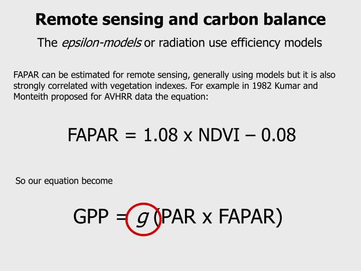 Remote sensing and carbon balance