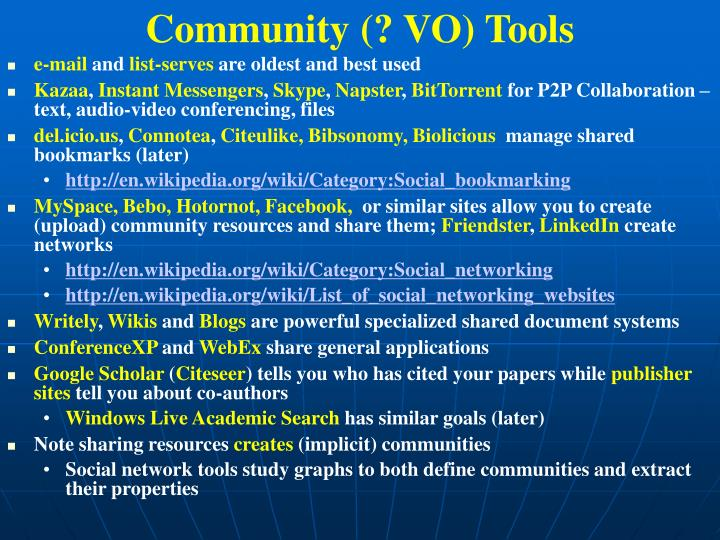Community (? VO) Tools