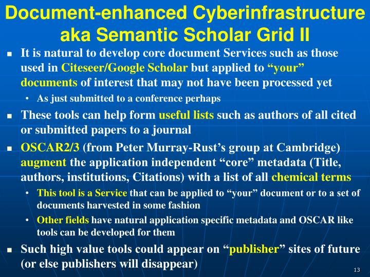 Document-enhanced Cyberinfrastructure