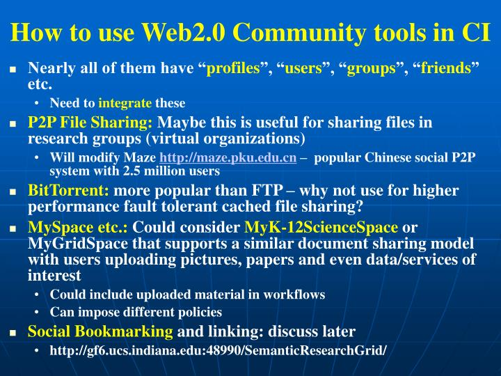 How to use Web2.0 Community tools in CI
