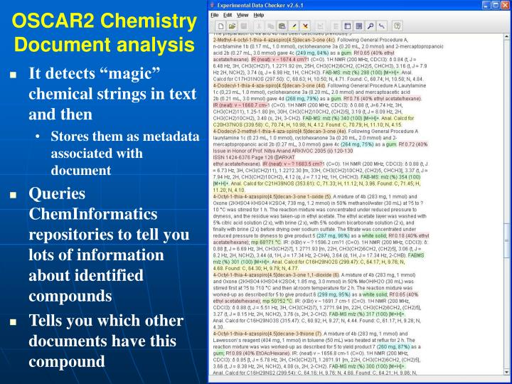 OSCAR2 Chemistry Document analysis