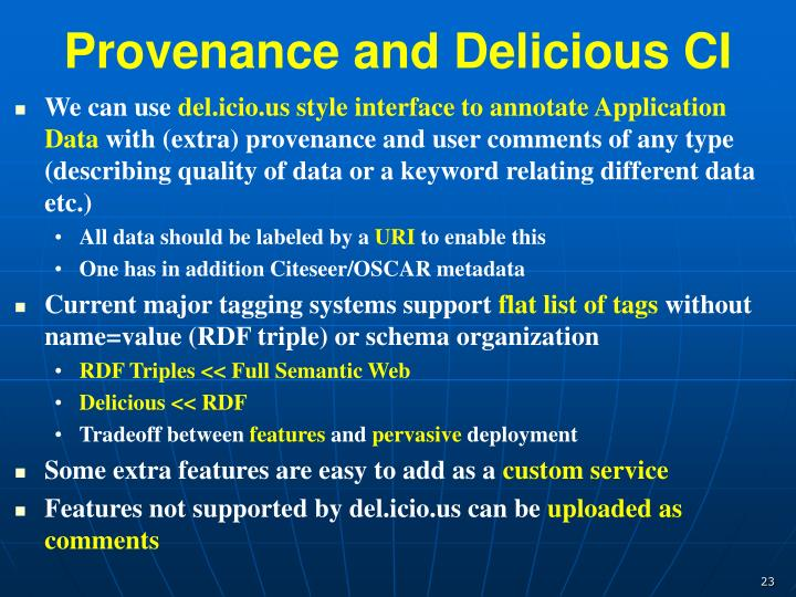 Provenance and Delicious CI