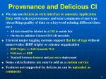 provenance and delicious ci