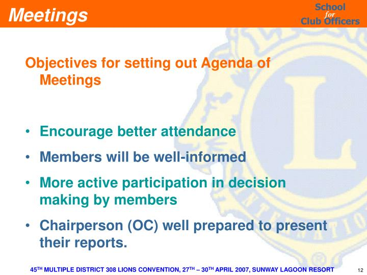 Objectives for setting out Agenda of Meetings