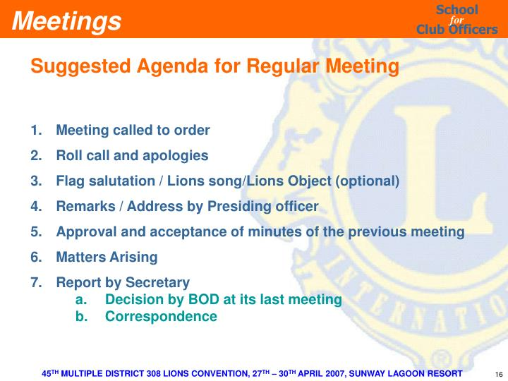 Suggested Agenda for Regular Meeting