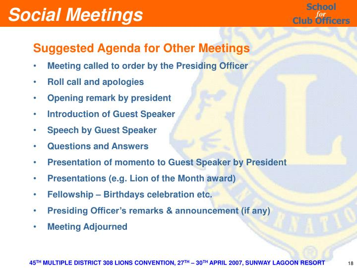 Suggested Agenda for Other Meetings