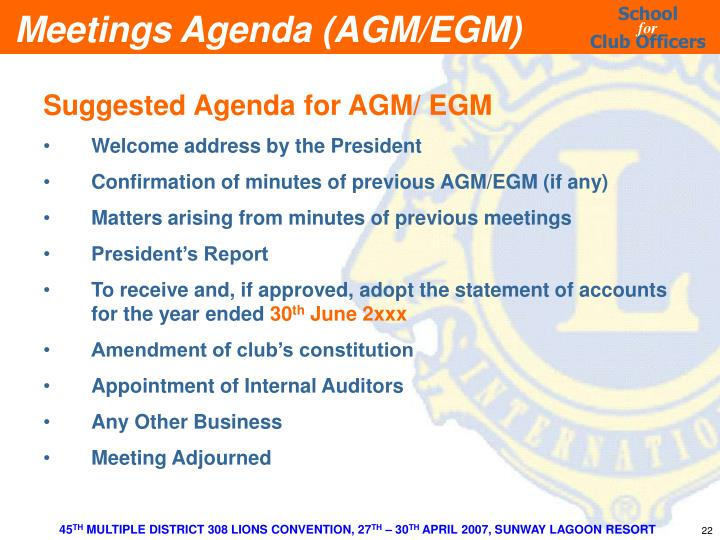 Suggested Agenda for AGM/ EGM