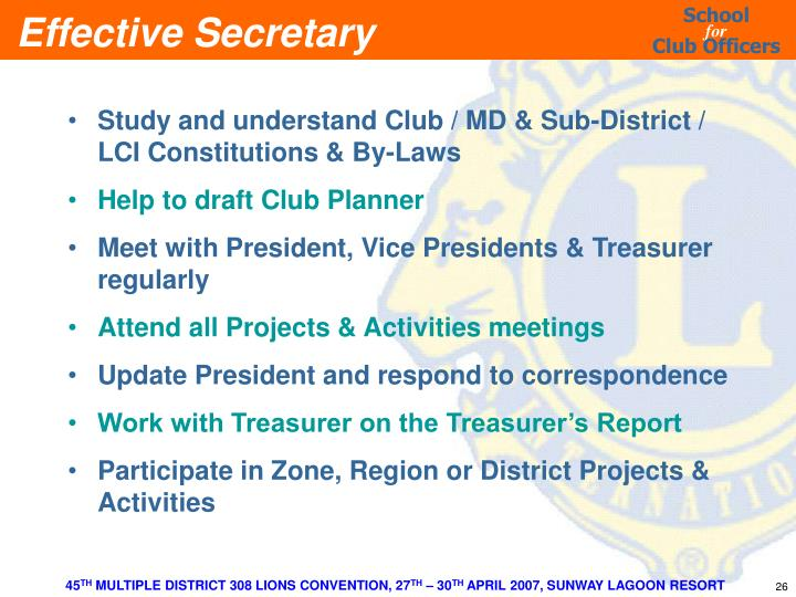 Study and understand Club / MD & Sub-District / LCI Constitutions & By-Laws