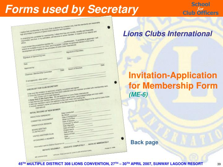 Forms used by Secretary