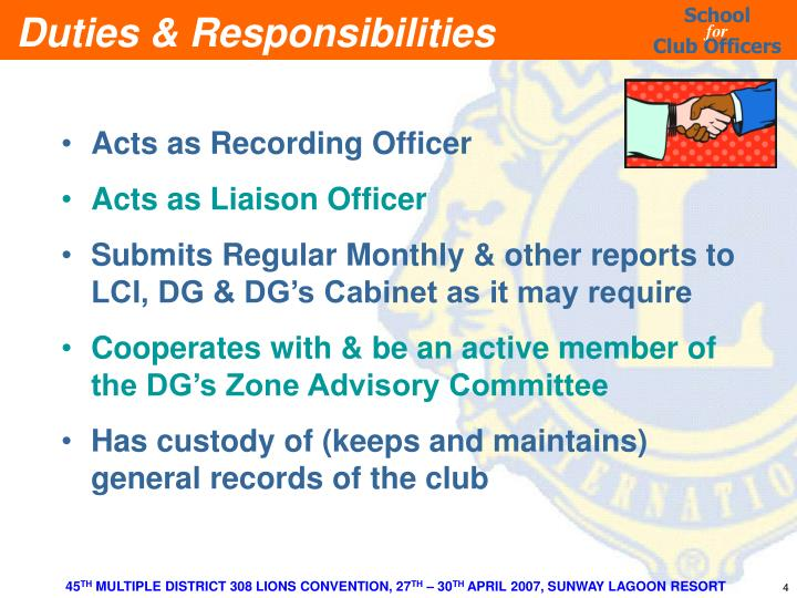 Acts as Recording Officer