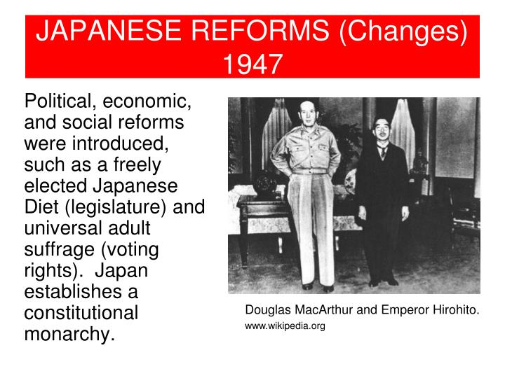 JAPANESE REFORMS (Changes)