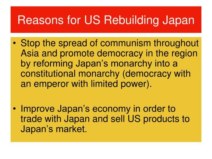 Reasons for US Rebuilding Japan